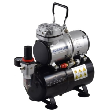 Agora-Tec® Airbrush Compressor AT-AC-04, Kompressor für Airbrushanwendungen mit 4 bar und 21,6l/min, inkl. 3,0 L Tank, inkl. Kondenswasserfilter und Druckregler